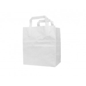 Large Paper Tape Handle Carrier Bags (White)-Takeaway Bags-Oh My Packaging