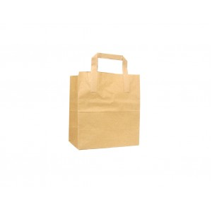 Small Brown Kraft SOS Paper Tape Handle Carrier Bags-Takeaway Bags-Oh My Packaging