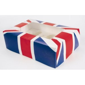 6 Hole Union Jack Cupcake/Muffin Boxes With Inserts (CLEARANCE OFFER)-Cupcake Boxes-Oh My Packaging