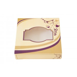 152 x 152 x 38 Cream Printed Sweet Boxes-Indian Sweet Boxes-Oh My Packaging