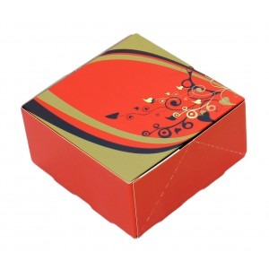 100 x 100 x 50mm Red Printed Sweet Boxes-Indian Sweet Boxes-Oh My Packaging