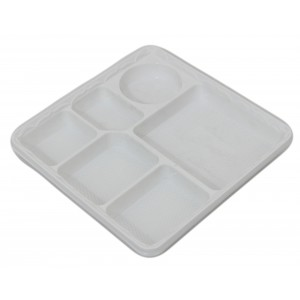 E-lite Plus 6 Compartment Standard Plastic Plate (100's)-Sectional Plates-Oh My Packaging